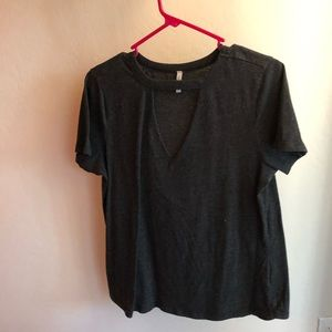 Grey t-shirt with cut out neckline
